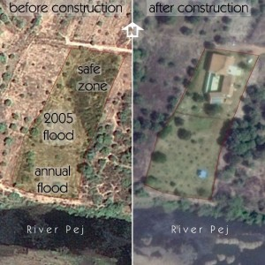 Satellite images of the site showing how the flood zone determined the final house location.